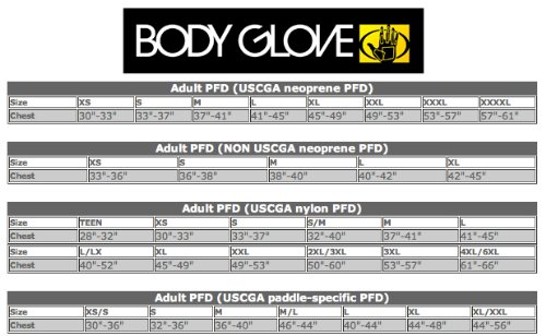 Body Glove Size Chart PFD ESS Electric Surf Sports