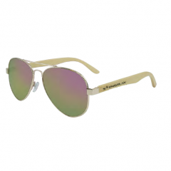 Stingray Dream Bamboo Shiny Light Gold-Pink Mirror Polarized Sunglasses