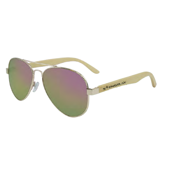 1b63b733732 Stingray Dream Bamboo Shiny Light Gold-Pink Mirror Polarized Sunglasses