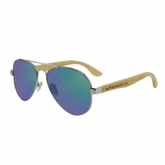 Stingray Journey Bamboo Shiny Silver-Green Mirror Polarized Sunglasses