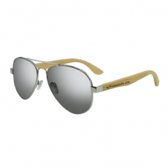 Stingray Journey Bamboo Shiny Silver-White Mirror Polarized Sunglasses