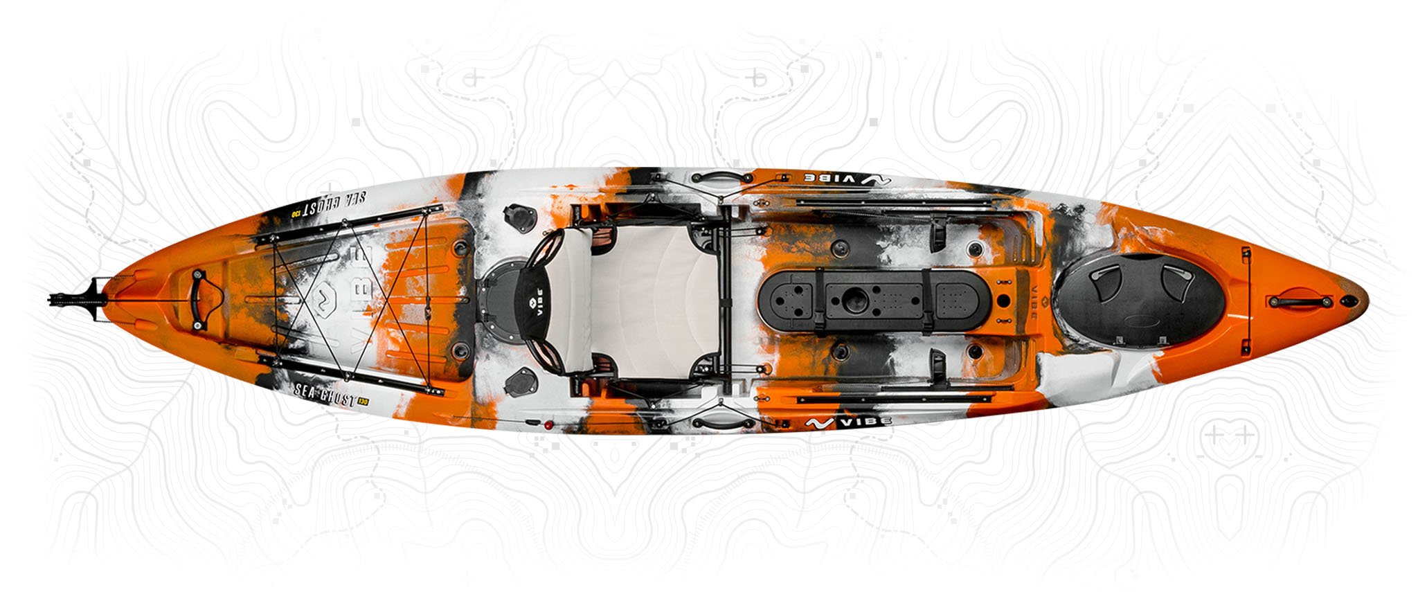 Vibe Kayak Sea Ghost 130 Top Orange Camo Electric Surf Sports