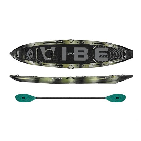 Vibe Maverick 120 SUP Hunter Camo with Blue Camo Blue Caribbean Evolve Paddle