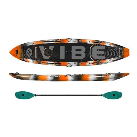 Vibe Maverick 120 SUP Orange Camp with Blue Camo Blue Caribbean Evolve Paddle
