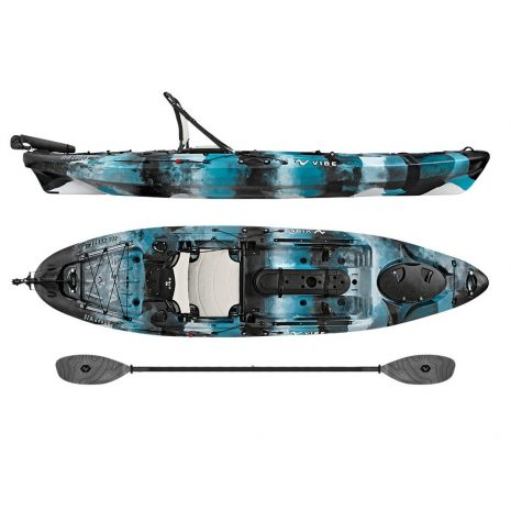 Vibe Sea Ghost 110 Blue Camo with Smoke Gray Evolve Paddle