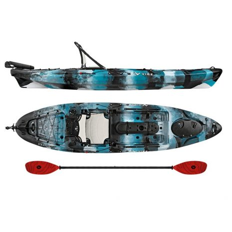 Vibe Sea Ghost 110 Blue Camo with Tsunami Red Evolve Paddle Paddle