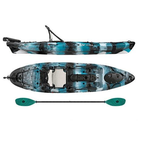 Vibe Sea Ghost 110 Blue Camo with Caribbean Blue Evolve Paddle