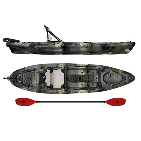 Vibe Sea Ghost 110 Hunter Camo with Tsumani Red Evolve Paddle