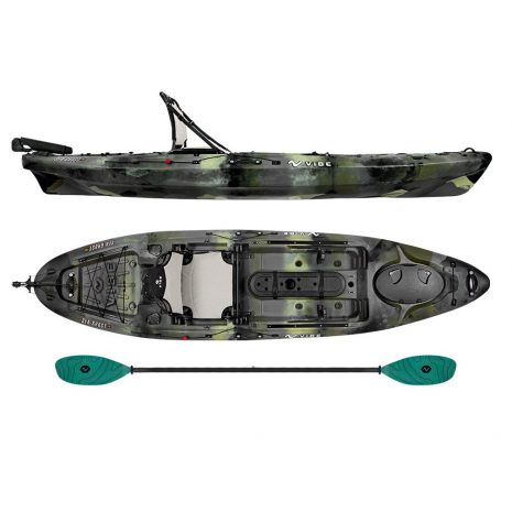 Vibe Sea Ghost 110 Hunter Camo with Caribbean Blue Evolve Paddle