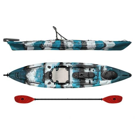 Vibe Kayak Sea Ghost 130 Blue Camo with Tsunami Red Evolve Paddle