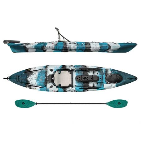 Vibe Kayak Sea Ghost 130 Blue Camo with Caribbean Blue Evolve Paddle