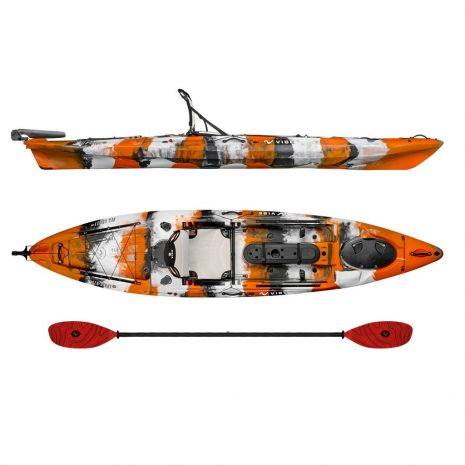 Vibe Kayak Sea Ghost 130 Orange Camo with Tsumani Red Evolve Paddle