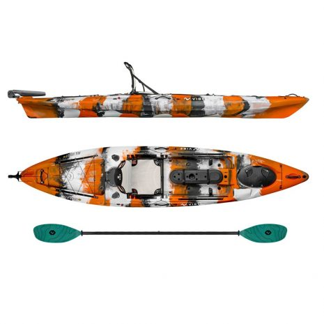 Vibe Kayak Sea Ghost 130 Orange Camo with Carribean Blue Evolve Paddle