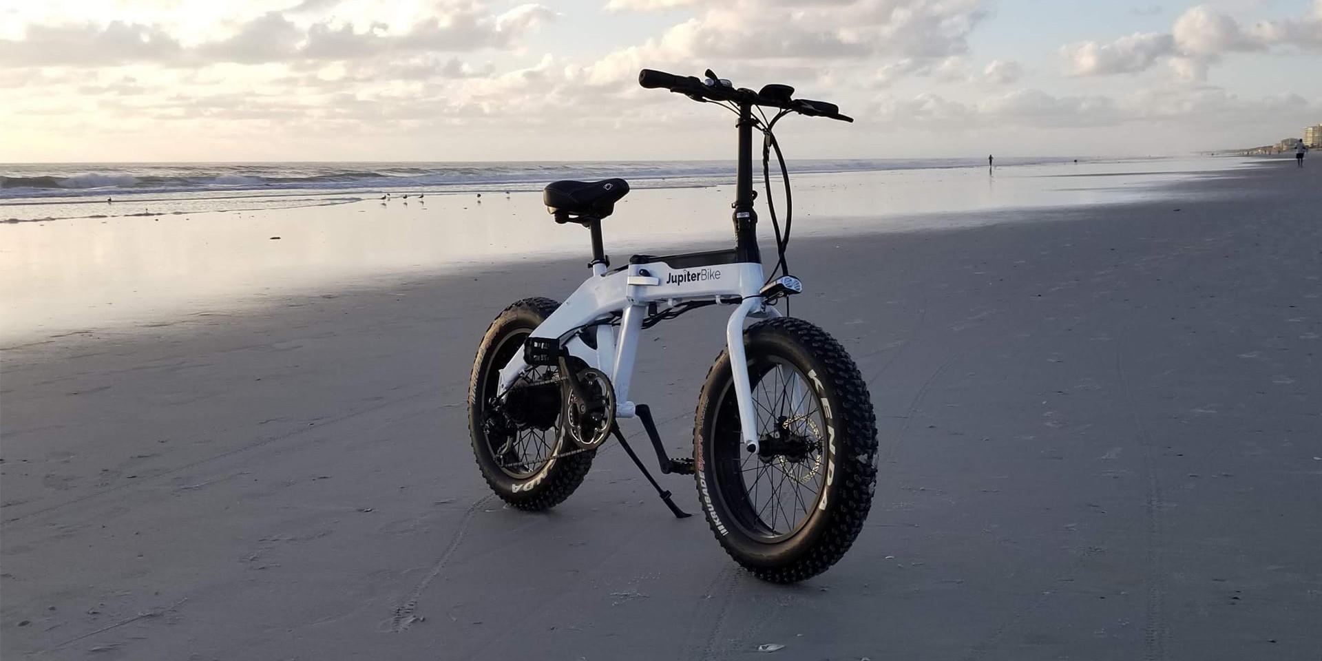Jupiter Bike Defiant Folding Fat Tire Ebike on beach